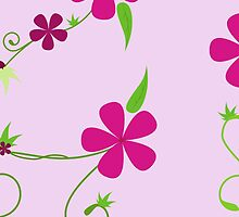 Flowers, Petals, Leaves, Swirls - Green Pink by sitnica