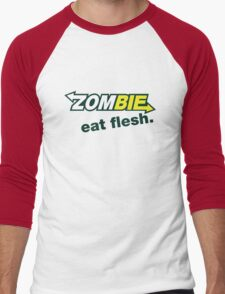 Zombie- Eat Flesh. Men's Baseball ¾ T-Shirt