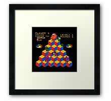 Q*Bert - Video Game, Gamer, Qbert, Orange, Black, Nerd, Geek, Geekery, Nerdy Framed Print