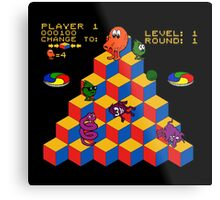Q*Bert - Video Game, Gamer, Qbert, Orange, Black, Nerd, Geek, Geekery, Nerdy Metal Print