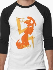 Orange Lightning Men's Baseball ¾ T-Shirt
