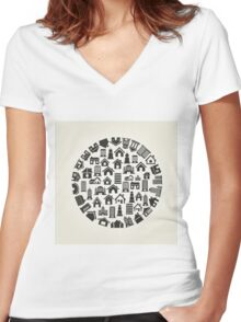 House a circle Women's Fitted V-Neck T-Shirt