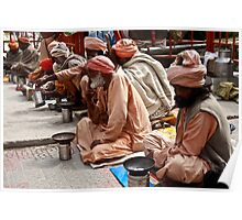Beggars At Badrinath Shrine Poster