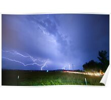 75th and Woodland Lightning Thunderstorm View Poster