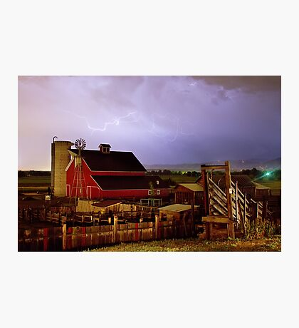 Lightning Strikes Over The Farm Photographic Print