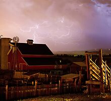 Red Barn On The Farm and Lightning Thunderstorm by Bo Insogna