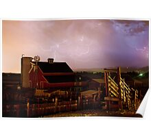 Red Barn On The Farm and Lightning Thunderstorm Poster