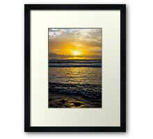 beautiful yellow sunset and soft waves at beal beach Framed Print