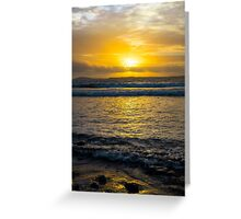 beautiful yellow sunset and soft waves at beal beach Greeting Card
