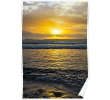 beautiful yellow sunset and soft waves at beal beach Poster