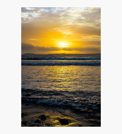 beautiful yellow sunset and soft waves at beal beach Photographic Print