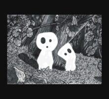 Tree Spirits - Black and White One Piece - Short Sleeve