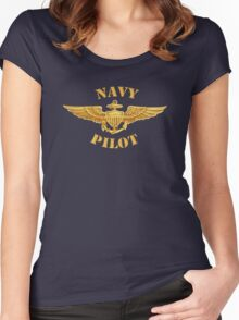 Navy Pilot Wings T-shirt Women's Fitted Scoop T-Shirt