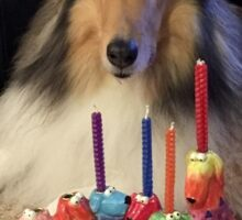 Rough Collie Happy Hanukkah Sticker