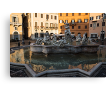 Neptune Fountain Rome Italy Canvas Print