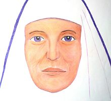 Purple Nun - Pencil Portrait by Janette Oakman