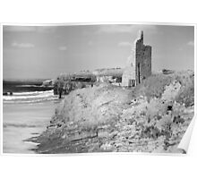 black and white ballybunion castle ruins Poster