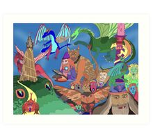Wizards and Dragons Art Print