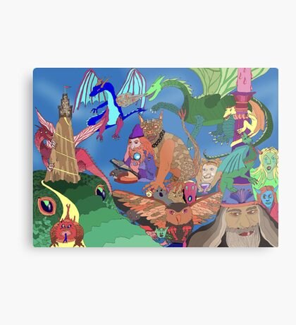 Wizards and Dragons Metal Print