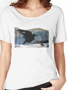 Something About Birds: Crow with White Feather Women's Relaxed Fit T-Shirt