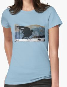 Something About Birds: Crow with White Feather Womens Fitted T-Shirt