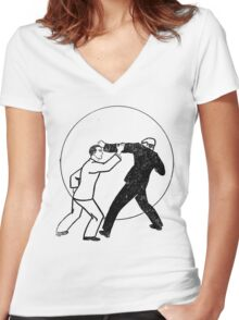 He's Got a Good Left! Women's Fitted V-Neck T-Shirt