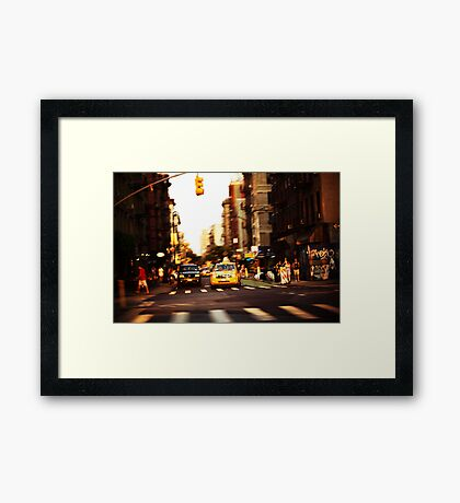 Sunset Taxi Framed Print