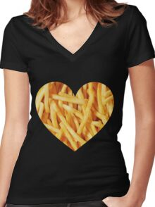 Fries Love Women's Fitted V-Neck T-Shirt