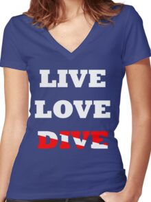 LIVE LOVE DIVE Women's Fitted V-Neck T-Shirt
