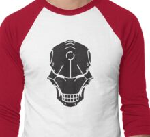 Cyborg Skull in Black Men's Baseball ¾ T-Shirt