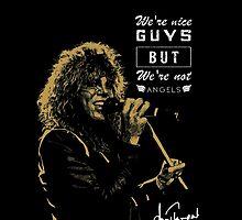 Rocker singing stylish poster on black background by Vinchenko