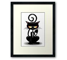 Cattish Angry Black Cat Cartoon Framed Print