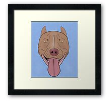 Smiling Red Nose Pitbull with his Tongue Out - Line Art Framed Print