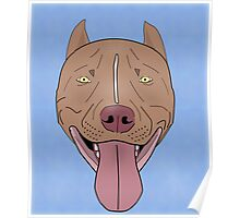 Smiling Red Nose Pitbull with his Tongue Out - Line Art Poster