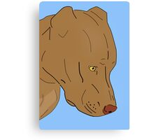 Cute and Sad Red Nose Pit Bull Portrait - Line Art Canvas Print