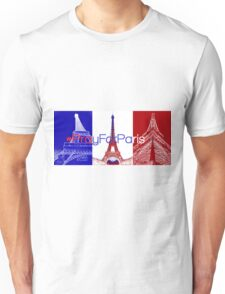 #PrayForParis over the French flag with pictures of the Eiffel tower. Unisex T-Shirt