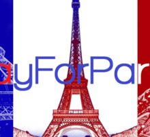 #PrayForParis over the French flag with pictures of the Eiffel tower. Sticker