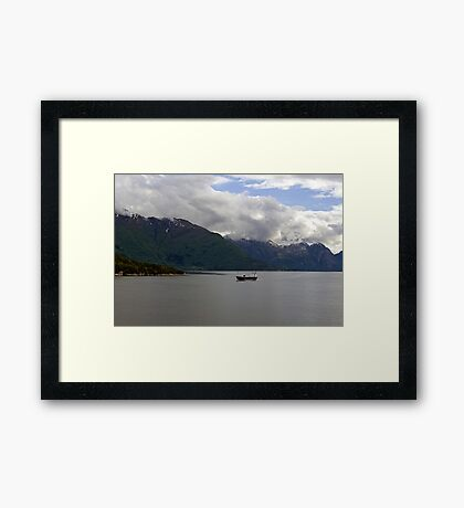 White clouds on the mountain Framed Print