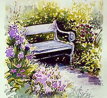 Blue bench by Rebecca Yoxall