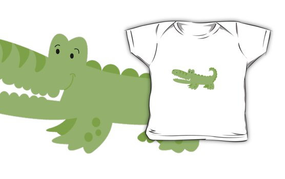 Cute Green Alligator by JessDesigns