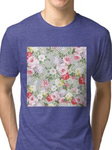 Vintage girly pink red yellow flowers polka dots  Tri-blend T-Shirt