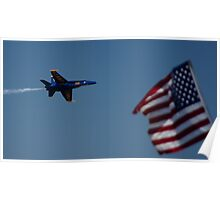 Blue Angels Flight Over The Flag Poster