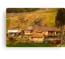 Farm on a Hill, Ingapirca, Ecuador Canvas Print