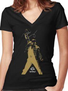 Rock music golden poster on black background Women's Fitted V-Neck T-Shirt
