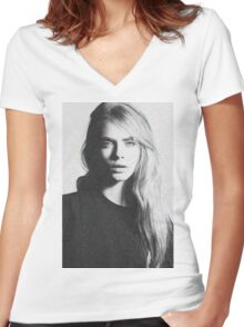 cara black and white Women's Fitted V-Neck T-Shirt