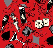 Viva Vegas Retro Casino Print - Red, Black and Gray by DriveIndustries
