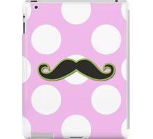 Curly Moustache, Polka Dots - Black Green Pink iPad Case/Skin