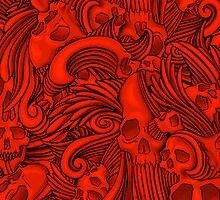 Winged Skull Gothic Illustrated Print - Red by DriveIndustries