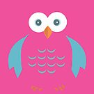 Blue & Pink Owl by Adamzworld