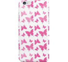 Pastel pink watercolor vintage butterflies pattern  iPhone Case/Skin